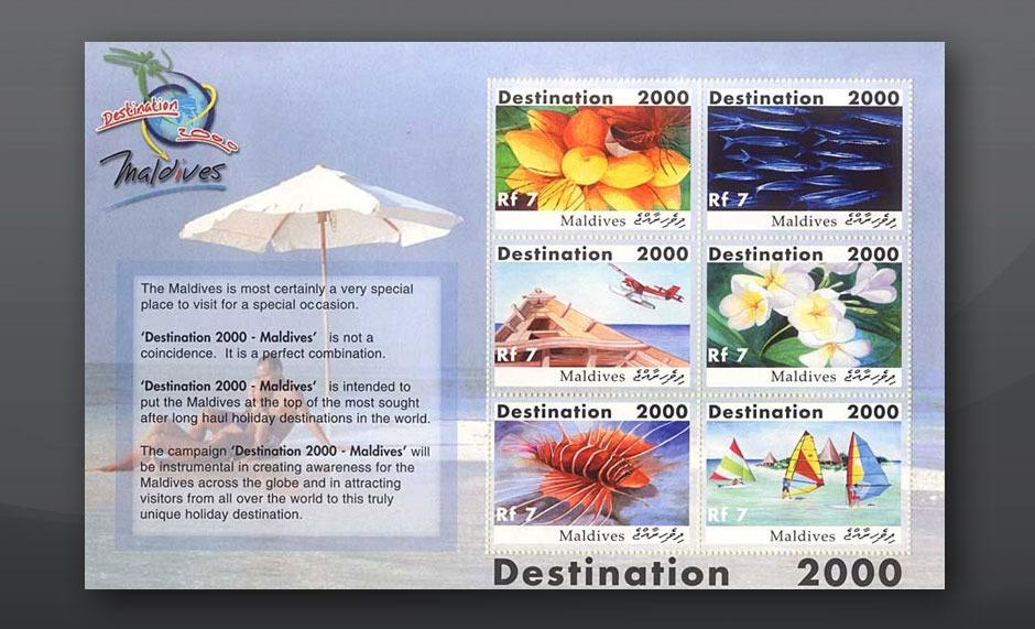 Stamp design destination 2000 Maldives